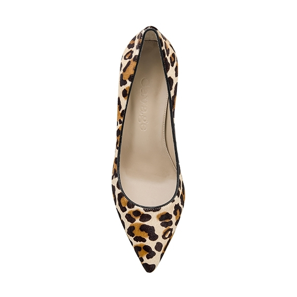 975d5189e2 Scarpin Loyal Animal Print Pelo Bege - Cavage