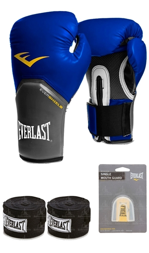 ce4f56fad Kit Boxe Muay Thai - Luva Pro Style Elite Training 16oz Azul + Bandagem  (2