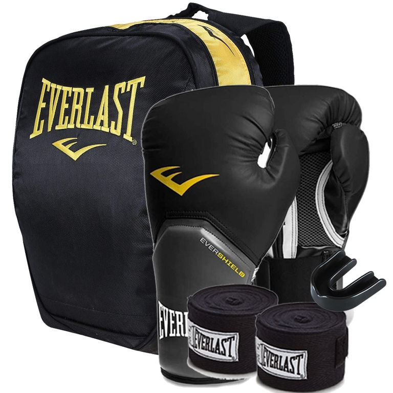 2b43b30cd7 Kit Boxe Everlast Mochila + Luva + Band + Bucal - 12oz Preto ...