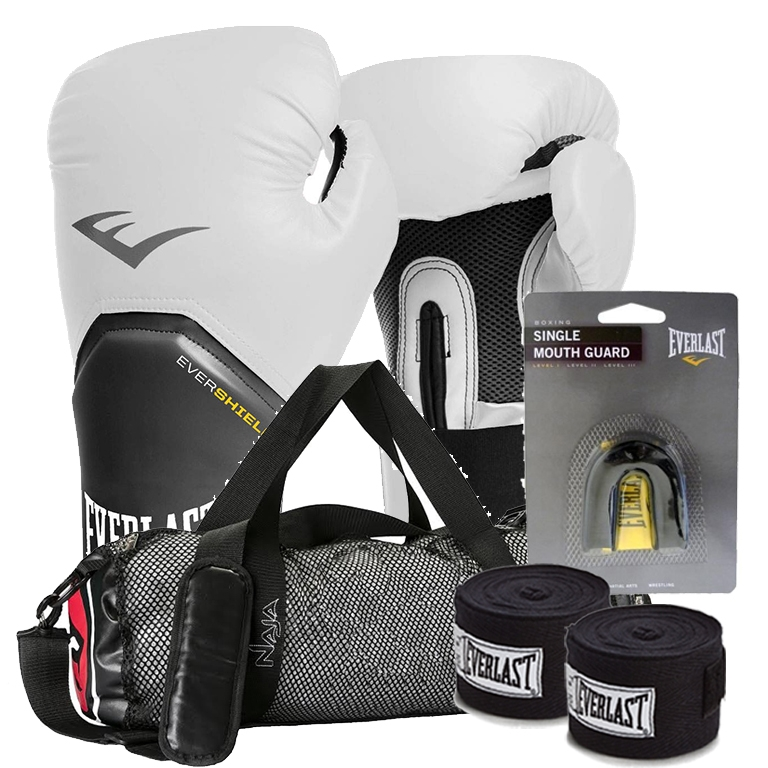cd7335f8db Kit Boxe Elite Everlast + Bolsa Naja 12oz Branco - Rythmoon Artigos ...