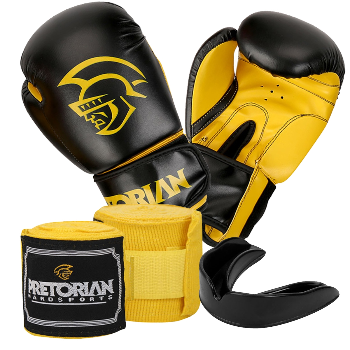 10c446998 KIT BOXE MUAY THAI FIRST PRETORIAN BUCAL + BANDAGEM + LUVA 10 OZ ...