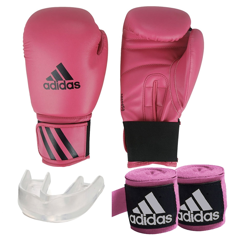 766cfeaa0 Kit Boxe Speed 50 Adidas + Band + Bucal Rosa 16oz - RYTHMOON