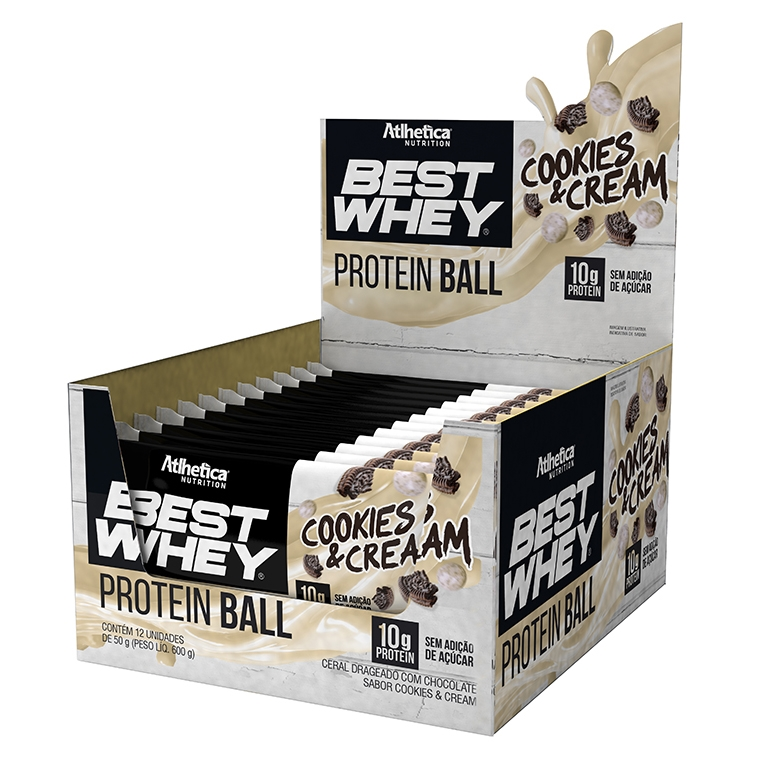 faa1563b7 Caixa com 12 Unid Best Whey Protein Ball Cookies   Cream Atlhetica Nutrition  ...