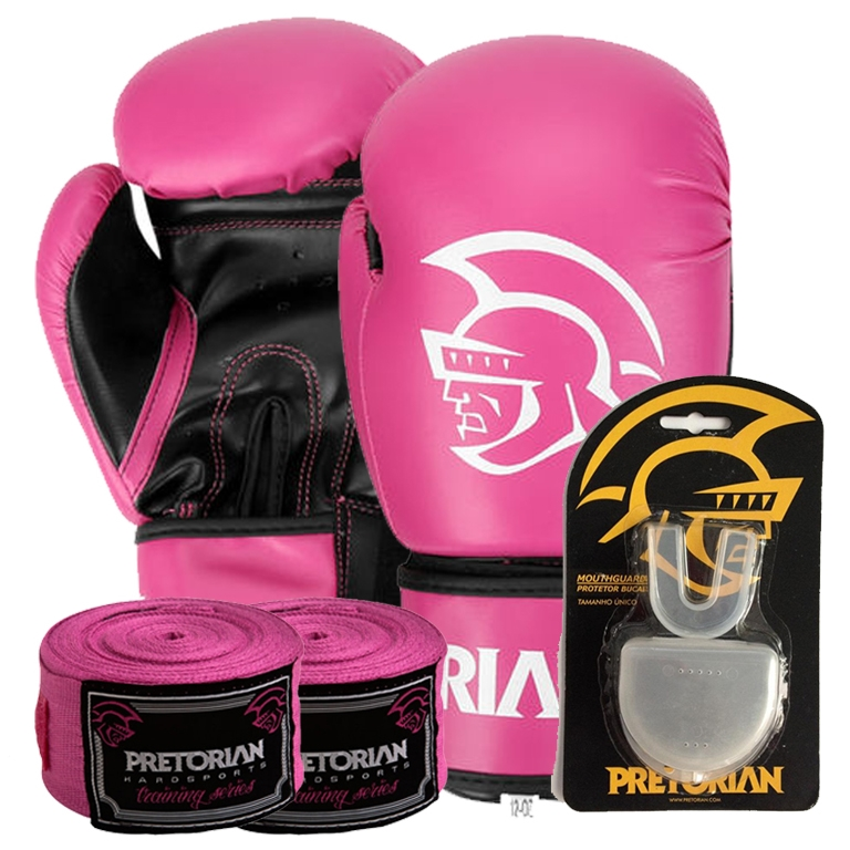 d9865b43f Kit Boxe First Pretorian Bucal + Bandagem + Luva 10 OZ Rosa - RYTHMOON