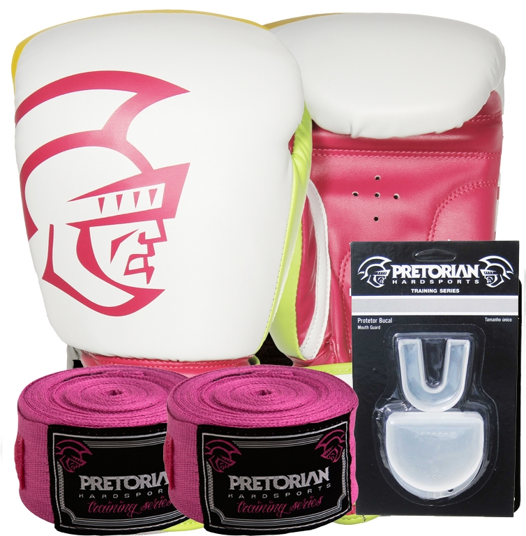 0d2f8feea Kit Boxe Training Pretorian -14 oz Branco e Pink - RYTHMOON